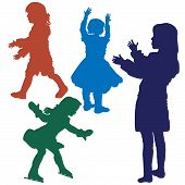 stock photo of underage  - silhouette of several little girls playing vector illustration - JPG