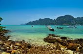 picture of koh phi-phi  - Boats sea and cliffs at koh Phi - JPG