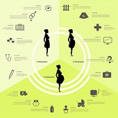 stock photo of birth  - Pregnancy and birth infographics and pregnancy stages - JPG
