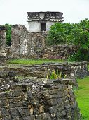 stock photo of mayan  - Mayan ruins at Tulum in Yucatan Mexico - JPG