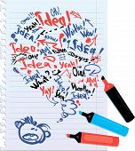 image of bubble sheet  - bubble speech sketch on notebook with lined sheets concept or idea handdrawn background - JPG