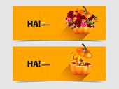 picture of happy halloween  - Set of two vector banners with realistic Halloween pumpkins with a bouquet of autumn flowers and maple leaves - JPG