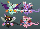 stock photo of demons  - 4 Cute Demon with Wings funny cartoon monster - JPG