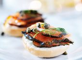stock photo of bagel  - bagels with cream cheese and salmon - JPG