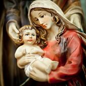 image of nativity scene  - Nativity scene. Mary with the young Jesus Christ in her arms