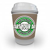 image of fresh start  - What You Need to Start Your Day words on a 3d rendered coffee cup full of hot - JPG