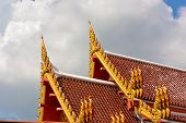 image of apex  - Gable Apex Thai Temple With Cloudy Sky - JPG