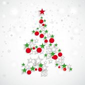 picture of x-files  - Christmas tree with baubles and stars on the white background - JPG