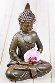 picture of siddhartha  - sitting bronze buddha statue close up pray - JPG
