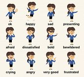 Постер, плакат: Business woman character emotions