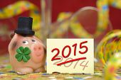 stock photo of talisman  - new year 2015 with talisman and clover leaf - JPG
