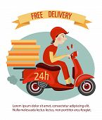 picture of scooter  - Delivery courier on retro scooter with boxes fast 24h service poster vector illustration - JPG