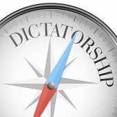 stock photo of reign  - detailed illustration of a compass with dictatorship text - JPG