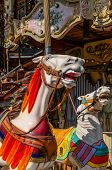 foto of carousel horse  - Two horses in a carousel in a fun park - JPG