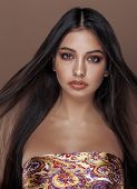 picture of mulatto  - cute happy young indian woman in studio close up smiling - JPG
