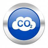 pic of carbon-dioxide  - carbon dioxide blue circle chrome web icon isolated - JPG