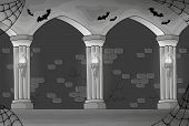 stock photo of scary haunted  - Black and white haunted interior  - JPG