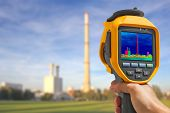 foto of thermal  - Record heat emission at the Chimney of energy station with infrared thermal camera - JPG
