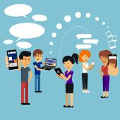 pic of sms  - Young people man and woman using technology gadget smartphone mobile phone tablet pc laptop computer in social network communication concept flat design cartoon style with copyspace - JPG
