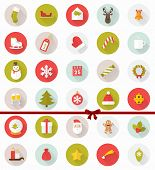 stock photo of xmas star  - Set of Modern Christmas Flat Style Icons with Long Shadows - JPG