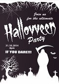 foto of reaper  - Spooky halloween vector party invitation with grim reaper and graves - JPG