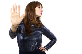 image of snob  - stylish woman refusing or saying no with hand gesture - JPG