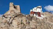pic of jammu kashmir  - Namgyal Tsemo Gompa with prayer flags  - JPG