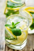 pic of mints  - lemonade with mint on a dark wood background - JPG