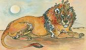 pic of african lion  - animalistic graphics illustration African lion resting on the ground - JPG