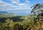 picture of na  - View over Hanalei bay and Na Pali range from Okolehao Trail near Hanalei Kauai Hawaii - JPG