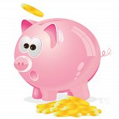 picture of coin bank  - Nice vector illustration of pink piggy bank with coins - JPG