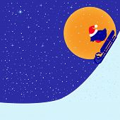 foto of sled  - Greeting card with bullfinch in Christmas hat riding on sled down hill in bright moon evening under snowfall and space for your own text - JPG