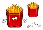 stock photo of wavy  - French fries cartoon character with smiling paper red box filled wavy crunchy slices of fried potato for food pack or fast food cafe design - JPG
