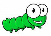 image of insect  - Green caterpillar insect cartoon character with happy smile and googly eyes for childish decor or fairy tail design - JPG