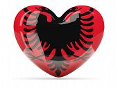 stock photo of albania  - Heart shaped icon with flag of albania isolated on white - JPG