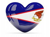 stock photo of samoa  - Heart shaped icon with flag of american samoa isolated on white - JPG