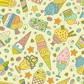 stock photo of gelato  - Cute hand drawn seamless pattern with different types of ice cream - JPG