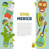 image of guitar  - Hand drawn set of mexican symbols  - JPG