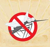 pic of gnats  - Anti mosquito sign with a funny cartoon mosquito  - JPG