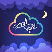 stock photo of goodnight  - Good Night Letter With Cloud And Sky Vector - JPG