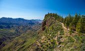 stock photo of breathtaking  - Gran Canaria February Caldera de Tejeda hiking path from Cruz de Tejeda to Artenara - JPG