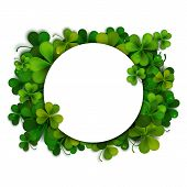 pic of saint patrick  - Saint Patricks Day vector background frame with realistic shamrock leaves - JPG