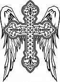 stock photo of christian cross  - classic cross and wings with ornamental decoration - JPG