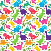 pic of dinosaur  - Dinosaur Seamless Tileable Vector Background Pattern or Texture - JPG