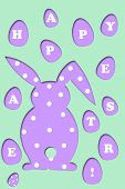 picture of card-making  - easter card with light purple rabbit and eggs shapes with letters making text  - JPG