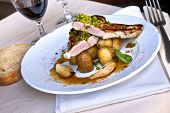 pic of veal  - piece of veal shallots and potatoes on a plate - JPG