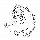 stock photo of hamster  - hedgehog hugs hamster coloring - JPG