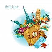 foto of big-ben  - World landmarks travel background with travel tickets suitcase and flower vector illustration - JPG