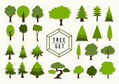 image of planting trees  - Eco friendly Trees shapes illustration set - JPG