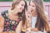pic of smiling  - Two female friends have fun time outdoors in Russia - JPG